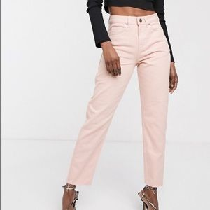 ASOS Ritson Mom Jeans High Rise Raw Edge 28 Pink